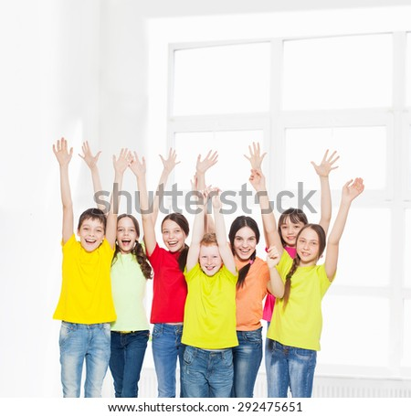Group of children in school. Happy schoolchild - stock photo