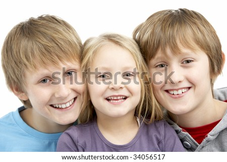 Group Of Children In Studio - stock photo