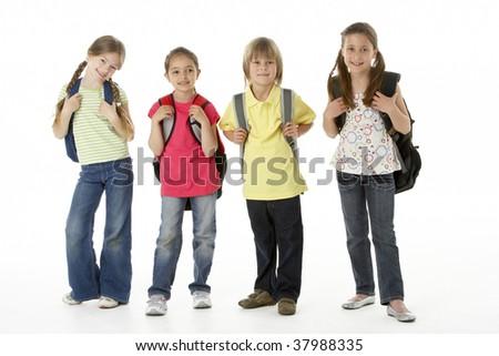 Group of children in Studio - stock photo