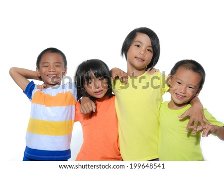 Group of children isolated on a over white background