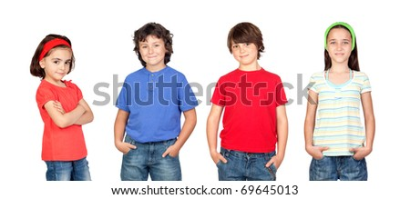 Group of children isolated on a over white background - stock photo