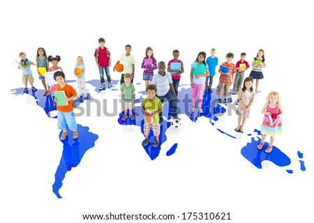 Group of Children on World Map - stock photo