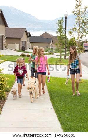 Group of children or teens waking dogs in a neighborhood - stock photo