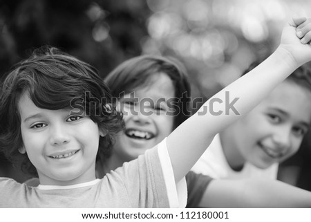 Group of children outside - stock photo