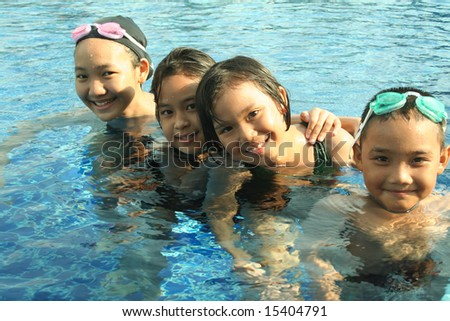 Group of children playing in the pool.