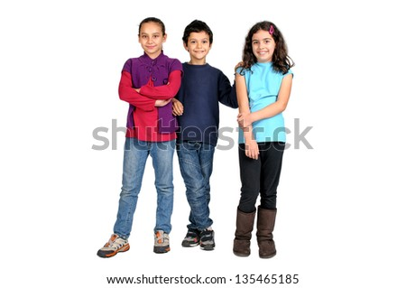 Group of children posing isolated in white - stock photo