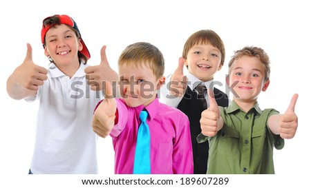 Group of children posing. Isolated on white background