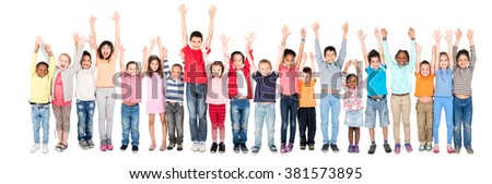 Group of children posing with raised hands isolated in white - stock photo