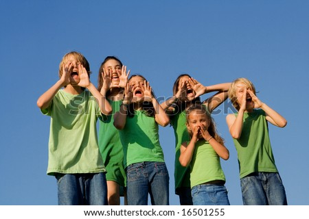 group of children shouting - stock photo