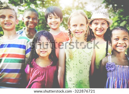 Group of Children Smiling Cheerful Concept - stock photo