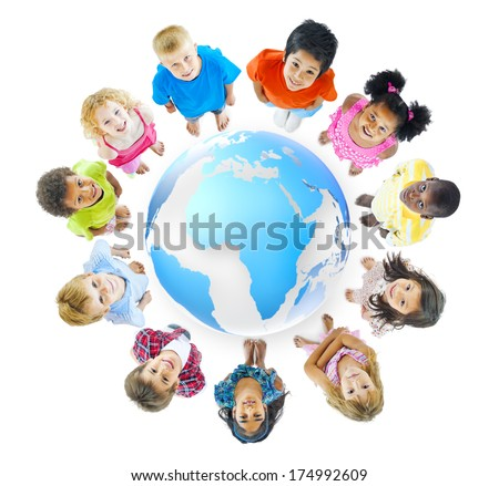 Group of Children Standing Around - stock photo
