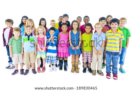 Group of children standing in line - stock photo