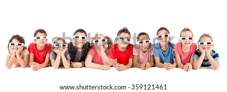 Group of children with 3d glasses isolated in white - stock photo