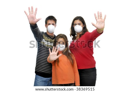 Group of children with masks against flu - stock photo