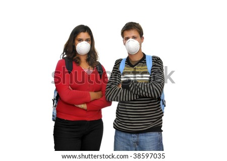 Group of children with masks against the flu - stock photo
