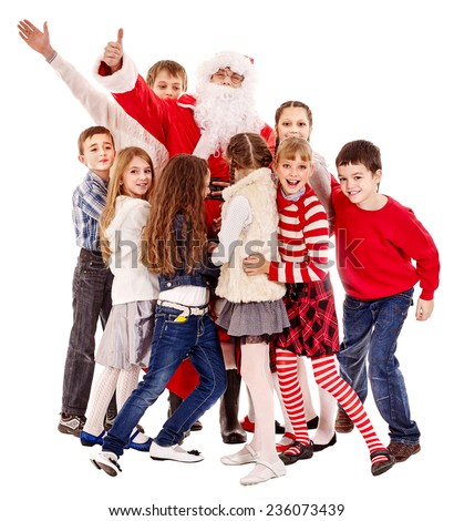 Group of children with Santa Claus.  Isolated. - stock photo