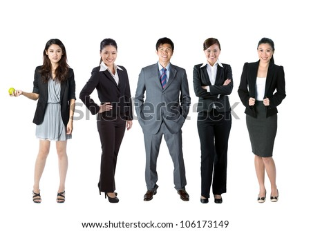Group of 5 Chinese business people. Isolated over white background - stock photo