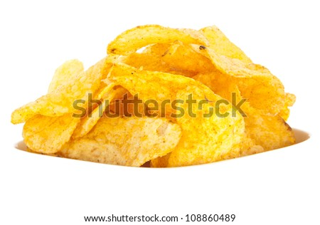 Group of Chips and Salt-Sticks isolated on white background (with clipping path)