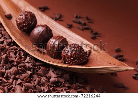 Group of chocolate close up - stock photo