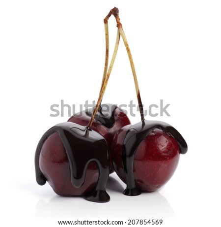 group of chocolate covered cherries - stock photo