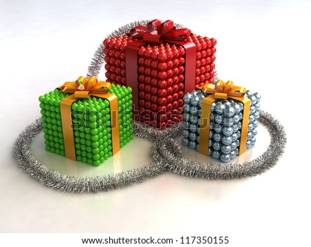 Group of Christmas gift boxes made of balls - stock photo