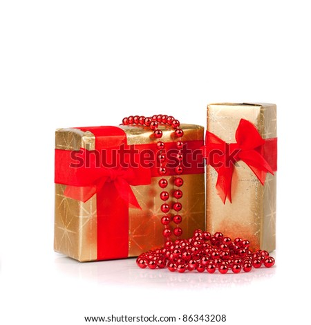 group of Christmas Gifts isolated on white