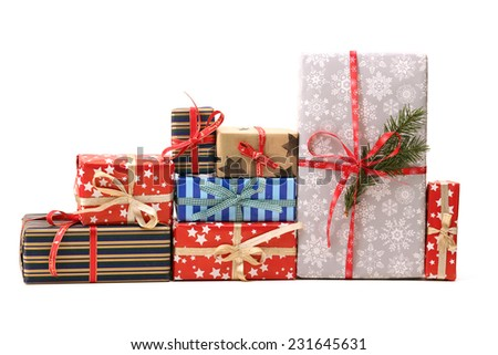 Group of christmas gifts isolated on white background  - stock photo