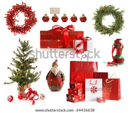 Group of Christmas objects isolated on white background - stock photo