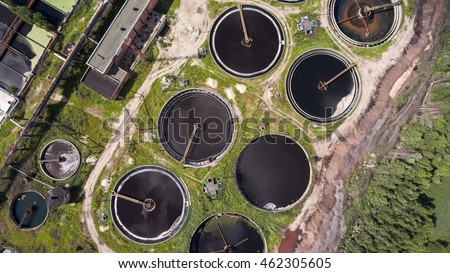 Group of clarifiers is in industrial wastewater treatment plant. Top view