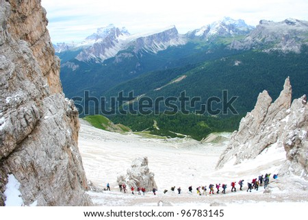 Group of climbers on the mountain Dolomite in Italy - stock photo