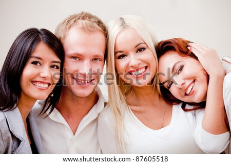 Group of close friends looking very happy and smiling