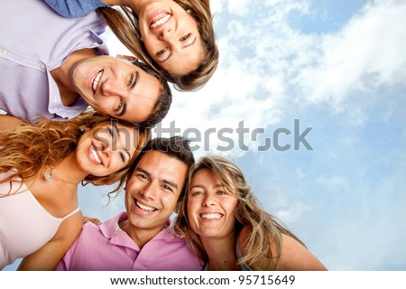 Group of close friends smiling looking very happy - stock photo