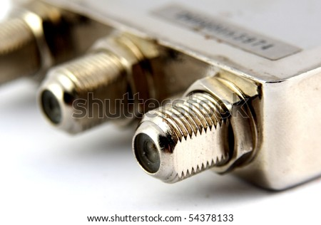 Group of coaxial connectors, close up - stock photo
