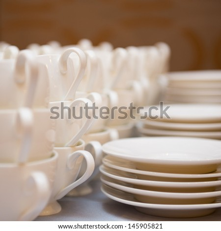 Group of coffee cups in cafe bar. - stock photo