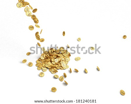 Group of coins falling in a heap, white background - stock photo