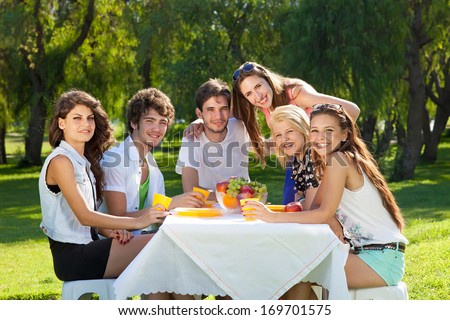 Group of college friends posing for the camera sitting together relaxing on a summer day enjoying a picnic in the park during their vacation. - stock photo