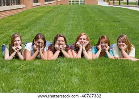 Group of College Girls at School - stock photo