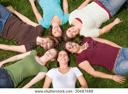 Group of College Girls in a Circle - stock photo