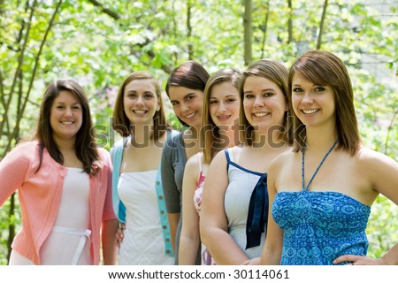 Group of College Girls in the Park - stock photo