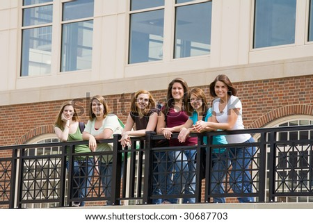 Group of College Girls on Campus - stock photo
