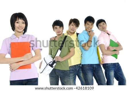 group of college students - stock photo