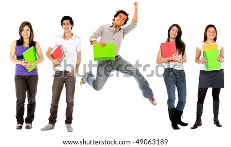 Group of college students with notebooks - isolated over white - stock photo