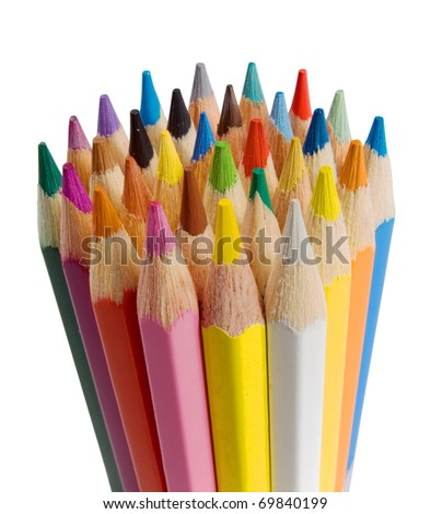 Group of color pencils - stock photo