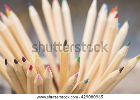 Group of color pencils cloase up - stock photo