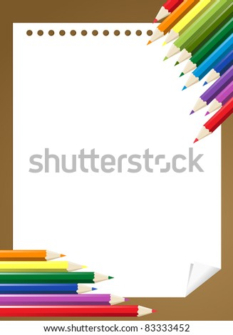 group of color pencils on the blank paper - stock photo