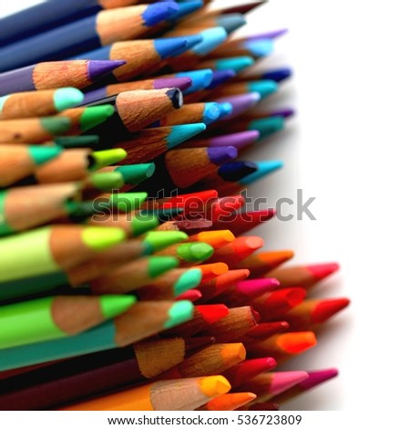 Group of color pencils with different colors.