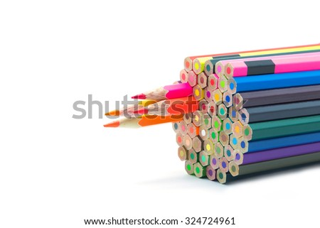 Group of color wooden pencil on white background - stock photo