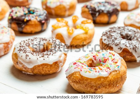 Group of colored glazed donuts