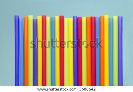 group of colored straws - stock photo
