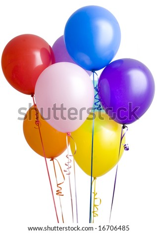 Group of colorful balloons isolated on white background - stock photo